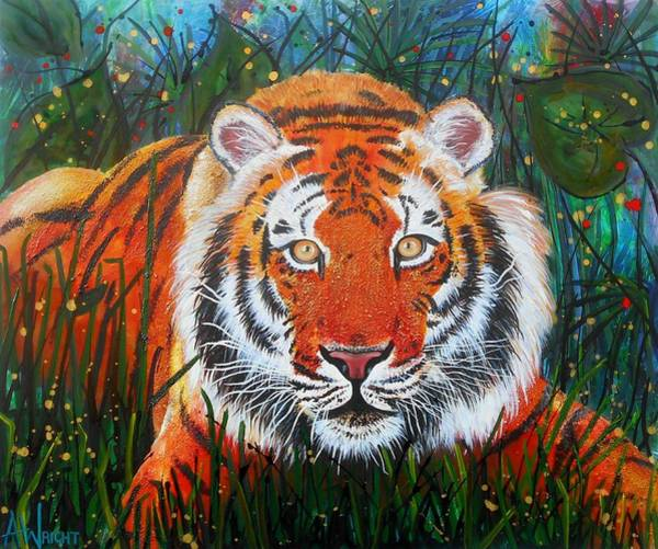 Tigger Wall Art - Painting - Tiger- Large Work by Angie Wright