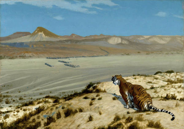 Irregular Painting - Tiger On The Watch by Jean-Leon Gerome