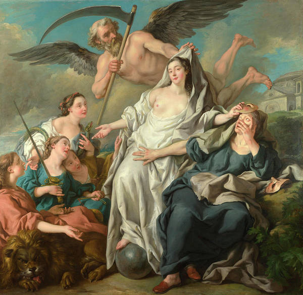 Virtue Painting - Time Unveiling Truth by Jean-Francois Detroy