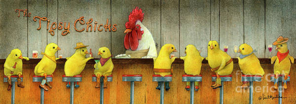 Wall Art - Painting - Tipsy Chicks by Will Bullas