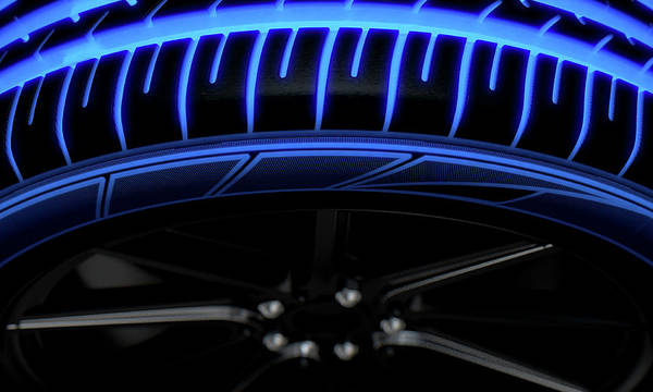 Wall Art - Digital Art - Tire Luminous Tread And Dark Background by Allan Swart