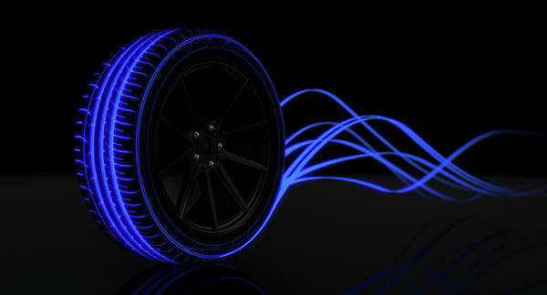 Mag Wheels Wall Art - Digital Art - Tire Luminous Tread And Glowing Wake by Allan Swart