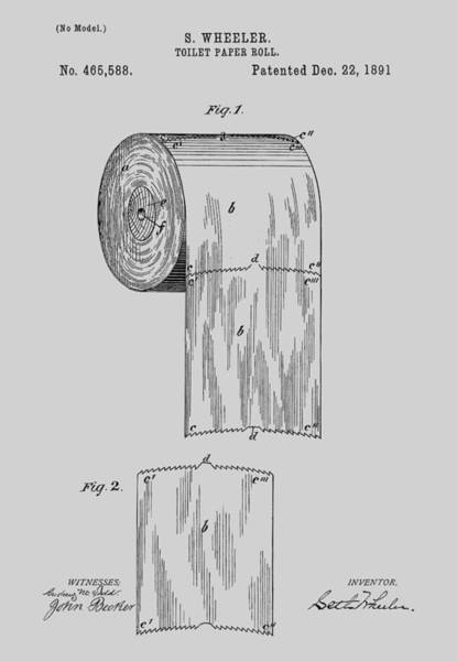 Toilet Paper Patent Photograph - Toilet Paper Roll Patent 1891 by Chris Smith