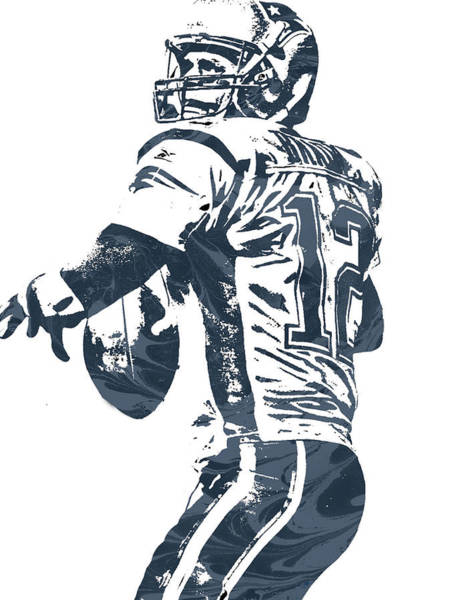 Wall Art - Mixed Media - Tom Brady New England Patriots Pixel Art 5 by Joe Hamilton