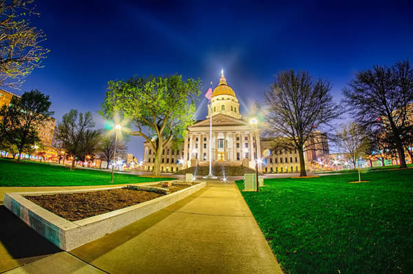 Topeka Kansas Downtown At Night Art Print