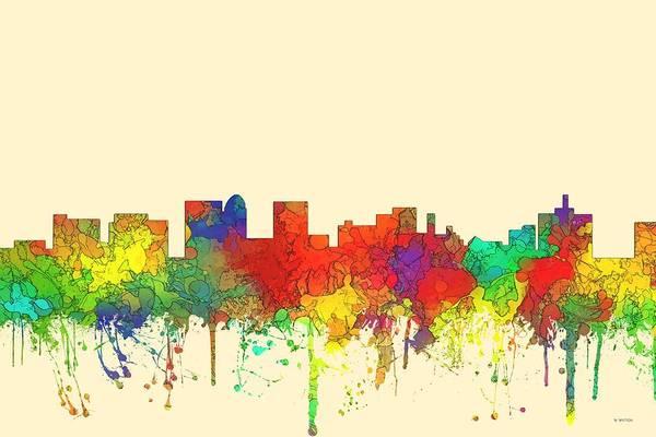 Topeka Wall Art - Digital Art - Topeka Kansas Skyline by Marlene Watson
