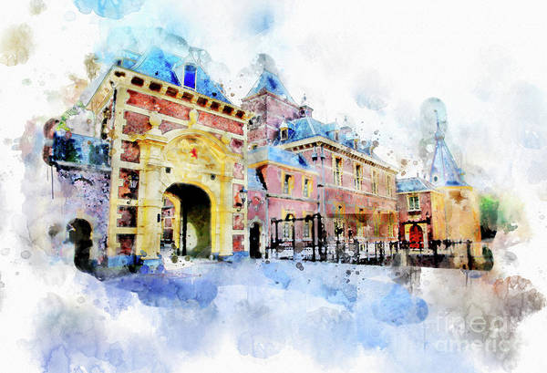 Digital Art - Town Life In Watercolor Style by Ariadna De Raadt