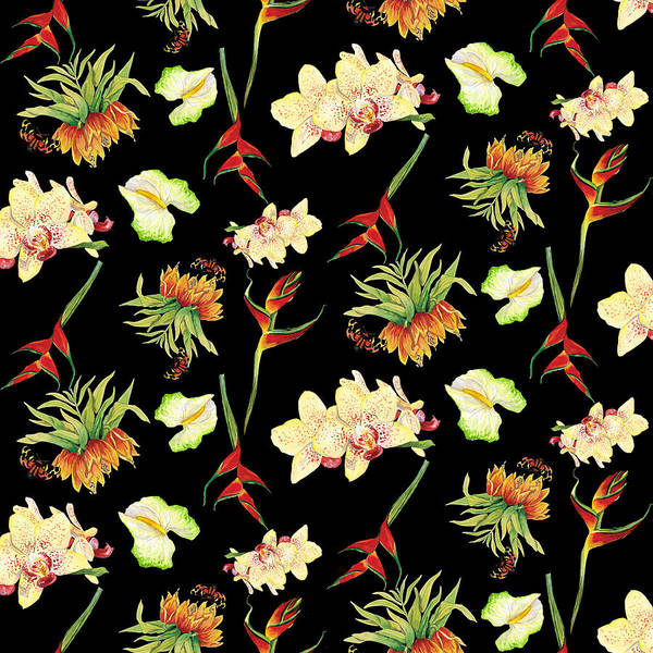 Orchid Mixed Media - Tropical Island Floral Half Drop Pattern by Audrey Jeanne Roberts