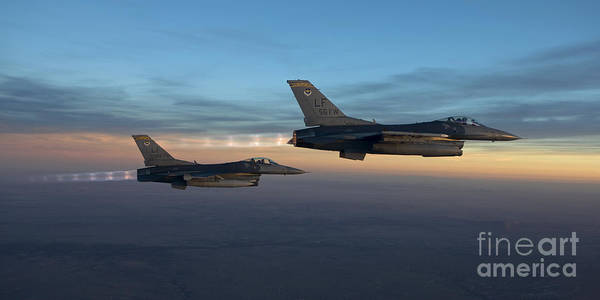 F-16 Photograph - Two F-16s Fly In Formation Over Arizona by HIGH-G Productions