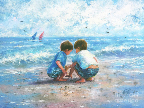 Wall Art - Painting - Two Little Beach Boys by Vickie Wade