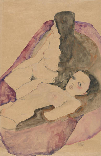 Austrian Drawing - Two Reclining Nudes by Egon Schiele