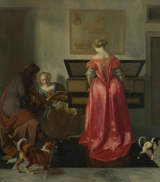 Elegant Dog Painting - Two Women And A Man Making Music by Jacob Ochtervelt