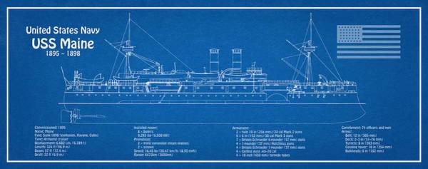 Revolting Digital Art - Uss Maine Ship Plans by JESP Art and Decor