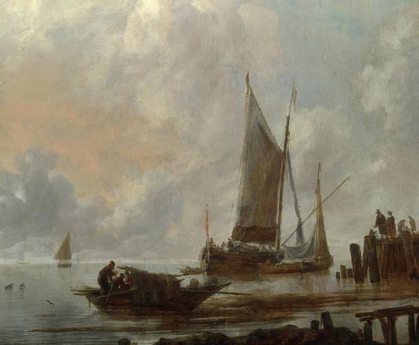 Moored Painting - Vessels Moored Off A Jetty by Jan van de Cappelle