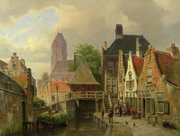 Waterway Painting - View Of Oudewater by Willem Koekkoek