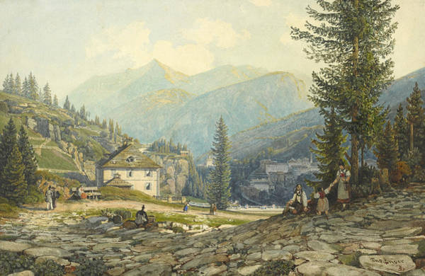 Drawing - View Of The Residence Of Archduke Johann In Gastein Hot Springs by Thomas Ender