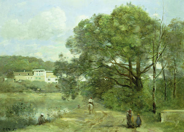 Riverbank Painting - Ville D'avray by Jean Baptiste Camille Corot