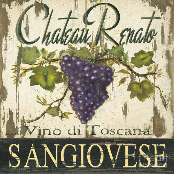 Vino Painting - Vineyard Red Wine Sign by Grace Pullen