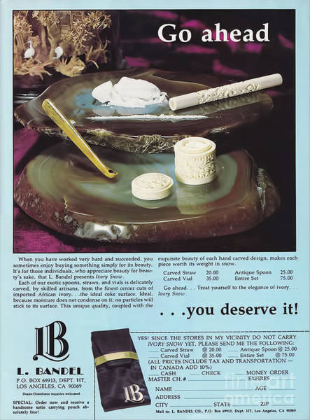 Snorting Wall Art - Photograph - Vintage 1970's Ad  by Garland Johnson