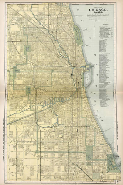 Vintage Chicago Drawing - Vintage Map Of Chicago  by CartographyAssociates