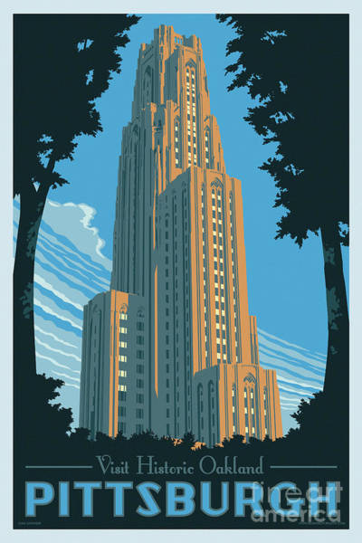 Wall Art - Digital Art - Pittsburgh Poster - Vintage Style by Jim Zahniser