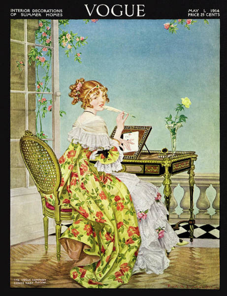Desk Photograph - Vogue Cover Illustration Of A Woman Sitting by Frank X Leyendecker