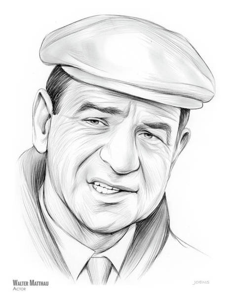 Academy Award Wall Art - Drawing - Walter Matthau by Greg Joens