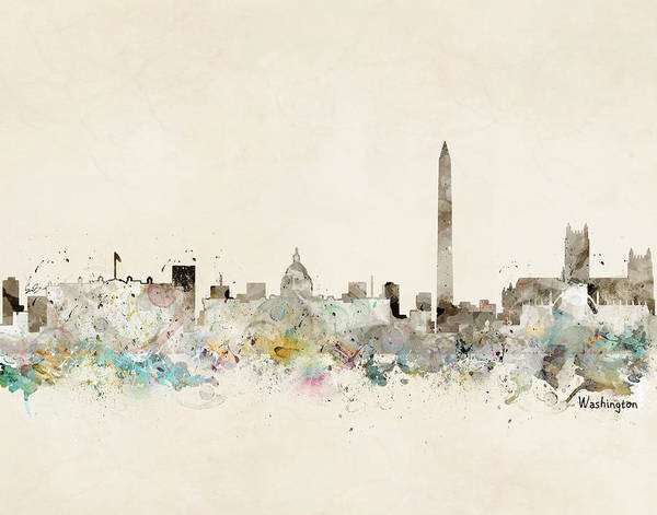 Watercolour Landscape Painting - Washington Dc Skyline by Bri Buckley