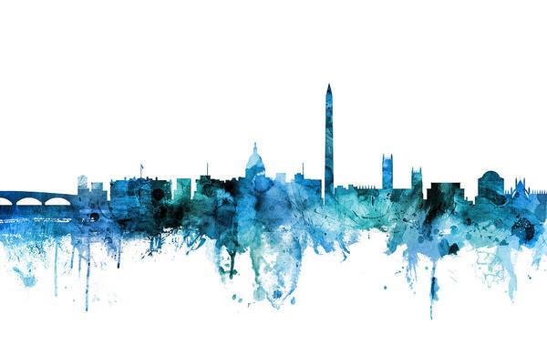 Wall Art - Digital Art - Washington Dc Skyline by Michael Tompsett