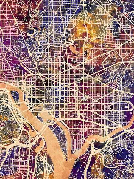 District Wall Art - Digital Art - Washington Dc Street Map by Michael Tompsett