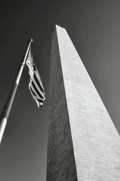 Photograph - Washington Monument And American Flag by Brandon Bourdages