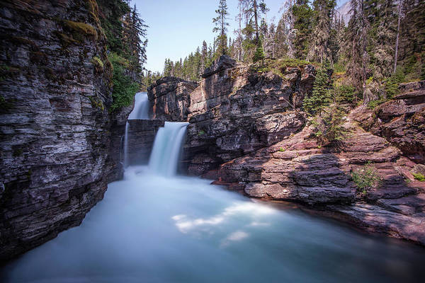 Photograph - Water Falls Glacier National Park by David Disponett