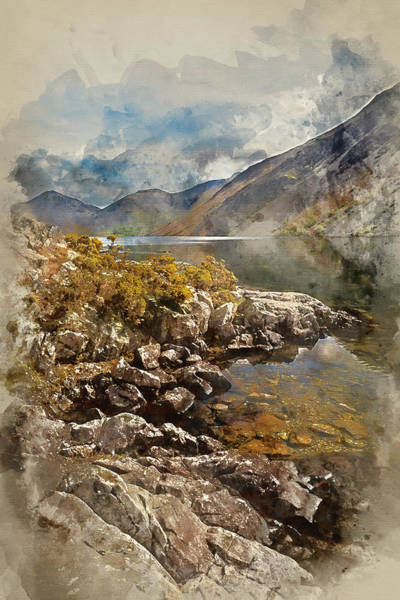 Wast Wall Art - Photograph - watercolor painting of Stunning landscape of Wast Water and Lake by Matthew Gibson