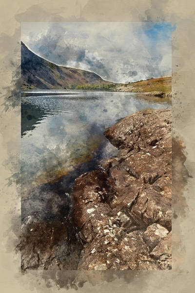 Wast Wall Art - Photograph - Watercolour Painting Of Stunning Landscape Of Wast Water And Lak by Matthew Gibson