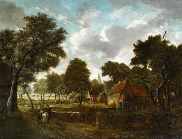 Meindert Hobbema Painting - Watermill And Village In A Wooded Landscape by Meindert Hobbema