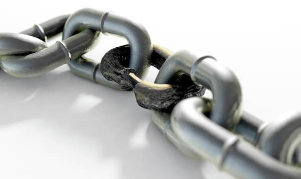 Rusty Chain Wall Art - Digital Art - Weak Rusted Link by Allan Swart