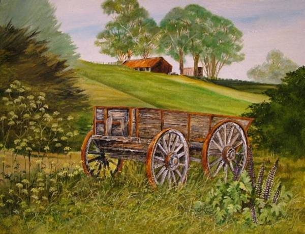 Painting - Weathered Wheels by Val Stokes