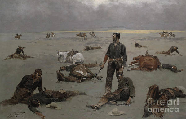 Gunfight Wall Art - Painting - What An Unbranded Cow Has Cost by Frederic Remington
