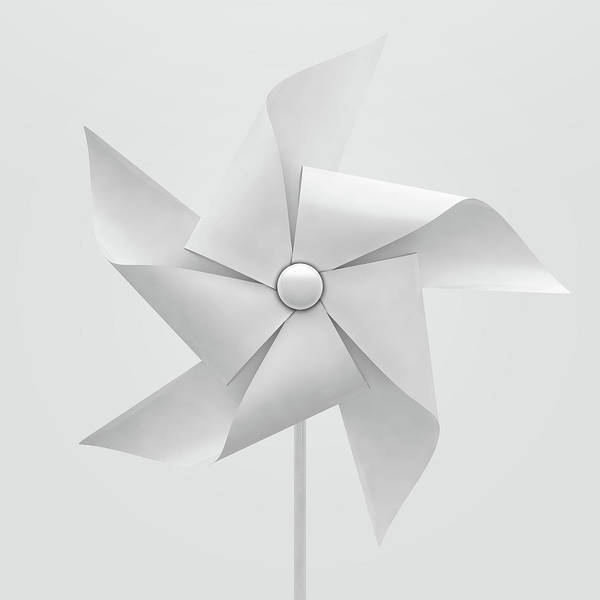 Rotating Digital Art - White Pinwheel by Allan Swart