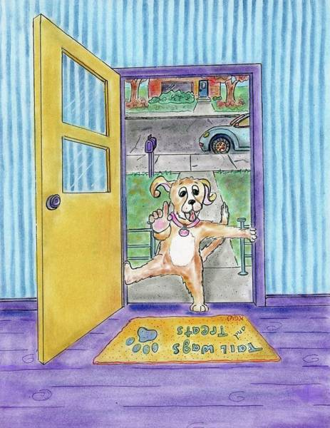 Drawing - Why Do Dogs Bark by Karen Camden Welsh