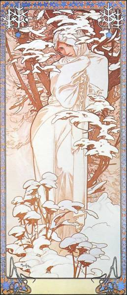 Painting - Winter by Alphonse Mucha