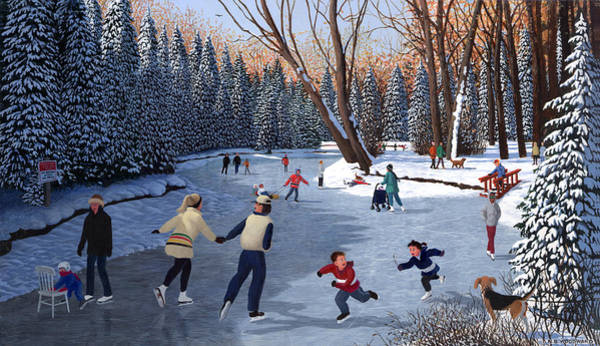Snowscape Painting - Winter Fun At Bowness Park by Neil Woodward