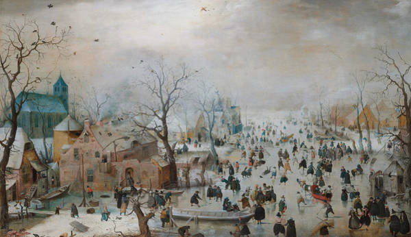 16th Century Wall Art - Painting - Winter Landscape With Skaters by Hendrick Avercamp
