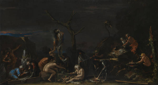 Italian Painters Wall Art - Painting - Witches At Their Incantations by Salvator Rosa