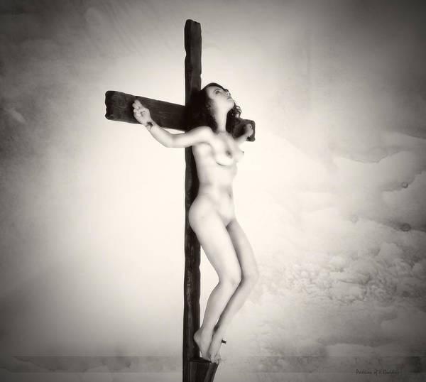 Croce Photograph - Woman On Crucifix by Ramon Martinez