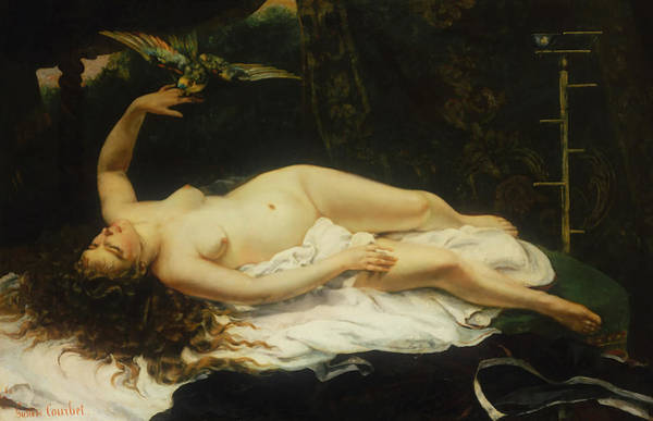 Painting - Woman With A Parrot by Gustave Courbet