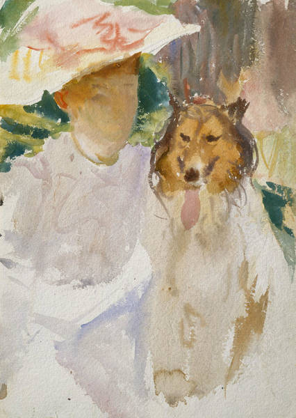 Drawing - Woman With Collie by John Singer Sargent
