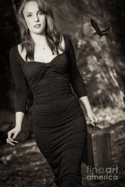 Wall Art - Photograph - Woman With Suitcase by Amanda Elwell