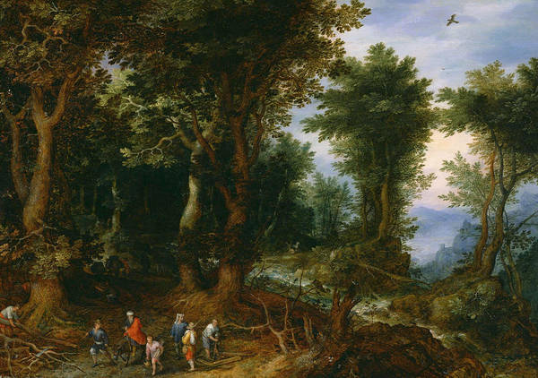 The Elder Painting - Wooded Landscape With Abraham And Isaac by Jan Brueghel the Elder