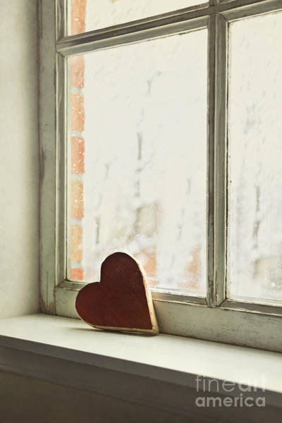 Photograph - Wooden Heart On A Window Sill by Sandra Cunningham